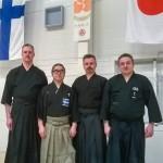 Vesa,  Momiyama-sensei, Jari ja Sami Helsingissä 5.3.2016