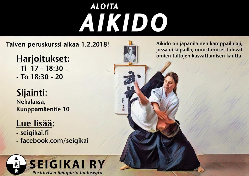 Aikidon peruskurssi alkaa 1.2.2018 klo 18.30